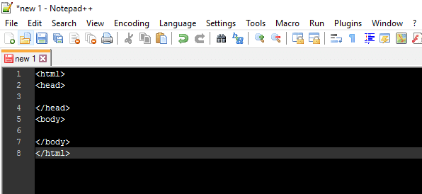 new html notepad++